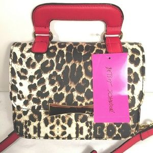Betsey Johnson Animal Leopard Print Purse Red Gold